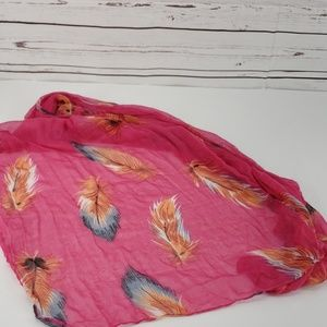 Pink BoHo feather Scarf